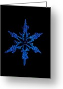 Hexagons Greeting Cards - Snowflake Crystal Greeting Card by Science Source