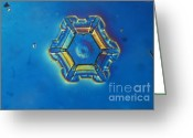 Hexagons Greeting Cards - Snowflake Greeting Card by Eric Grave