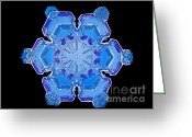 Hexagons Greeting Cards - Snowflake From A Resin Cast Greeting Card by Science Source
