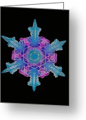 Hexagons Greeting Cards - Snowflake Greeting Card by Science Source