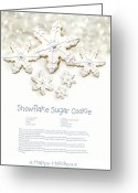 Eat Greeting Cards - Snowflake sugar cookies with receipe  Greeting Card by Sandra Cunningham