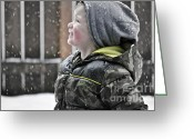 Little Boy Photo Greeting Cards - Snowflake Thoughts Greeting Card by Gwyn Newcombe