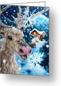 Cabin Window Painting Greeting Cards - Snowflakes and Reindeer Greeting Card by Graham Keith