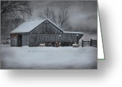 Sheep Greeting Cards - Snowflakes on the Farm Greeting Card by Robin-Lee Vieira