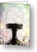 Shimmer Greeting Cards - Snowglobe with ornaments against colored background Greeting Card by Sandra Cunningham
