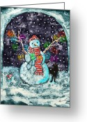 Card Art Greeting Cards - Snowman and Cat Greeting Card by Catherine Martha Holmes