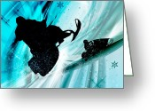 Young Men Greeting Cards - Snowmobiling on Icy Trails Greeting Card by Elaine Plesser