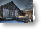 Split-rail Fence Greeting Cards - Snowy Barn Greeting Card by Jane Linders