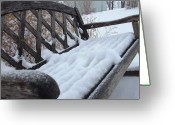 Ali Dover Greeting Cards - Snowy Bench Greeting Card by Ali Dover