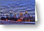 Photographers Atlanta Greeting Cards - Snowy City at Night Greeting Card by Corky Willis Atlanta Photography