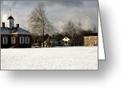 1750s Greeting Cards - Snowy Colonial Williamsburg Courthouse Green Greeting Card by Sally Weigand