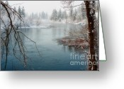 Spokane Greeting Cards - Snowy Day on the River Greeting Card by Reflective Moments  Photography and Digital Art Images