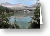 Canon 7d Greeting Cards - Snowy Green lake sunset Whistler B.C Canada Greeting Card by Pierre Leclerc