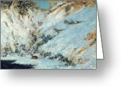 Signed Greeting Cards - Snowy Landscape Greeting Card by Gustave Courbet