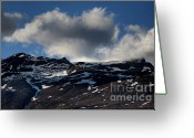 Mountain Summit Greeting Cards - Snowy mountain summits above Capileira village in the Alpujarras mountains Greeting Card by Sami Sarkis