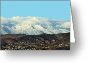 Anaheim Greeting Cards - Snowy Mountains Greeting Card by Ellen Henneke