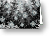 Snowy Night Digital Art Greeting Cards - Snowy Night I Fractal Greeting Card by East Coast Barrier Islands Betsy A Cutler