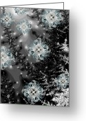 Snowy Night Digital Art Greeting Cards - Snowy Night III Fractal Greeting Card by East Coast Barrier Islands Betsy A Cutler