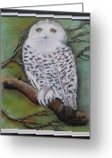 Snowy Night Greeting Cards - Snowy owl Greeting Card by Agnieszka Jezierska-Drutel