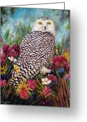 Amimal Greeting Cards - Snowy Owl Greeting Card by David G Paul