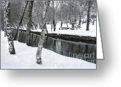 Empty Park Bench Greeting Cards - Snowy Park Greeting Card by Carlos Caetano