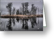 Roger Lewis Greeting Cards - Snowy Reflections Greeting Card by Roger Lewis