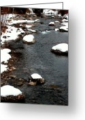 Brown Tones Photo Greeting Cards - Snowy River Greeting Card by The Forests Edge Photography - Diane Sandoval