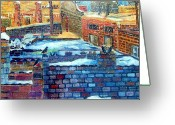 Pole Drawings Greeting Cards - Snowy Roof Tops Greeting Card by Mindy Newman