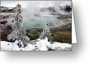 Western Sky Greeting Cards - Snowy Yellowstone Greeting Card by Jason Maehl