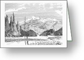 Bay Drawings Greeting Cards - Snug Harbor Alaska Greeting Card by Jack Pumphrey
