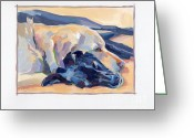 Black Lab Greeting Cards - Snuggles Greeting Card by Kimberly Santini