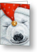 Polar Bear Greeting Cards - Snuggy Bear Greeting Card by Richard De Wolfe