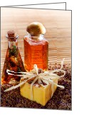 Fragrance Greeting Cards - Soap and Fragrance Oils Greeting Card by Olivier Le Queinec