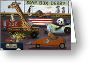 Panda Greeting Cards - Soap Box Derby Greeting Card by Leah Saulnier The Painting Maniac