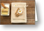 Household Greeting Cards - Soap clothespins and towels  Greeting Card by Sandra Cunningham