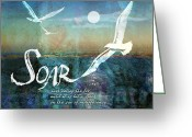 Seagulls Greeting Cards - Soar Greeting Card by Evie Cook