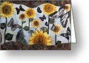 Textile Art Tapestries - Textiles Greeting Cards - Soaring Butterflies Greeting Card by Patty Caldwell