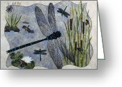 Fiber Art Greeting Cards - Soaring Dragonflies Greeting Card by Patty Caldwell