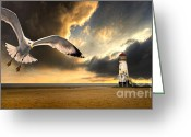 Seagulls Greeting Cards - Soaring Inshore Greeting Card by Meirion Matthias