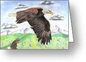 Eagle Pastels Greeting Cards - Soaring With Eagles Greeting Card by Russ  Smith