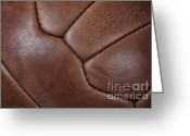 Soccer Sport Greeting Cards - Soccer Ball Closeup Greeting Card by Gualtiero Boffi