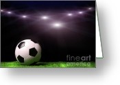 Game Greeting Cards - Soccer ball on grass against black Greeting Card by Sandra Cunningham