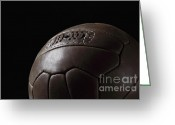 Soccer Sport Greeting Cards - Soccer Ball Vintage Greeting Card by Gualtiero Boffi