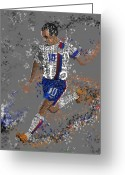 Player Mixed Media Greeting Cards - Soccer Greeting Card by Danielle Kasony