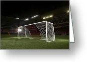 Soccer Stadium Greeting Cards - Soccer Goal In Empty Floodlit Stadium Greeting Card by Tay Rees