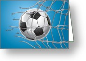 Curve Ball Greeting Cards - Soccer Goal. Greeting Card by Kittisak Taramas