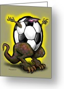 Soccer Greeting Cards - Soccer Zilla Greeting Card by Kevin Middleton