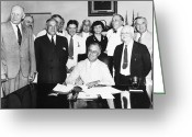 Signing Greeting Cards - Social Security Act, 1935 Greeting Card by Granger