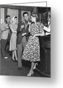 Five People Greeting Cards - Socializing At A Bar Greeting Card by George Marks