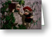 Romeo And Juliet Greeting Cards - Sock Monkey Romeo and Juliet Greeting Card by David Jones